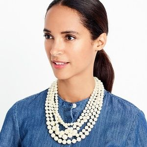 J. Crew Layered Faux Pearl Necklace